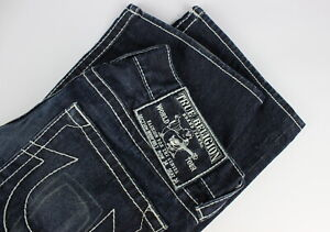 TRUE RELIGION BOBBY BIG J BOOTCUT Men's W34 Fade Effect Stitched Jeans 30698-JS