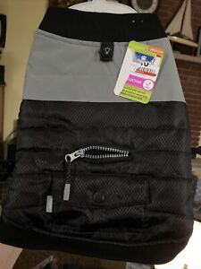 NWT TOP PAW Reflective Fleece Lined Vest Coat Black Grey Dog- M, L