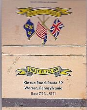 VINTAGE MATCHBOOK (40)>THREE FLAGS INN,WARREN,PA.>MID 60's>*FREE U.S. SHIPPING*