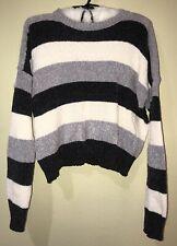 1c686712e94 NWT  118 Romeo Juliet Couture Semi Crop Black Ivory Gray Sweater Super Soft  Sz M
