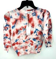 Anthropologie John + Jenn Womens Small Sweater Red White Blue Tie Dye Light