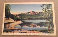 SYLVAN LAKE & TOP NOTCH PEAK YELLOWSTONE NATIONAL PARK WY vintage linen postcard