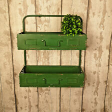 Green Industrial Wall Storage Unit Metal Shelving Vintage 2 Tier Display Shelf