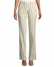 BA&SH Farah cream linen-cotton blend red & charcoal pinstripe trousers UK 8 £235