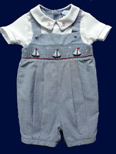 Boys NWOT Carriage Boutiques Smocked Sailboats Shortall 24 mo Beach Portrait NEW