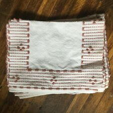 Handloomed placemats in emerald green and mauve from Gaspe Peninsula in Quebec
