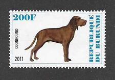 Dog Art Portrait Postage Stamp Plott Hound Redbone Coonhound Burundi 2011 Mnh