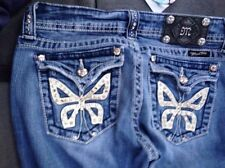 Miss Me Jeans Crystals Butterfly Rhinestones Style JP5019 Boot Cut 28 33