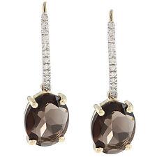 10k Yellow Gold Oval Smokey Quartz and Pave Diamond Earrings (1/8 TDW)