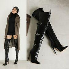 Womens Sexy Lace Up Buckle Strap Thigh High Nightclub Boots Heels Stilettos Shoe