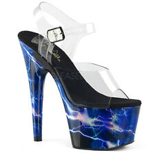 PLEASER ADORE 708STORM BLUE HOLOGRAM PLATFORM POLE DANCING SANDALS SHOES