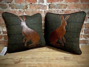 "Pair Of Harris Tweed ""Hare"" Cushions 17"" X 17"""