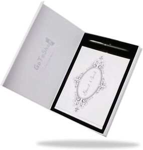 Wedding Guest Book with Pen Gift Box Set - White/Silver 9x6 Inches Brand NEW