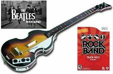 NEW Nintendo Wii Beatles Rock Band Hofner Bass Guitar & RockBand TrackPack Vol 2