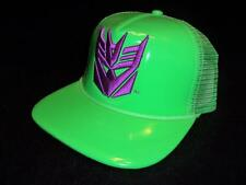 Mens Neon Green Vinyl Patent Purple Tranformers Snapback Hat Decepticons Dope