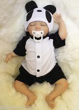 "18"" Panda Wearing Newborn Premium Fine Reborn Vinyl Silicone Baby Doll Realistic"
