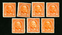 US Stamps # 558 F-VF Lot of 7 OG LH+H Catalog Value $210.00