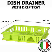 Dish Drainer Dry Rack Plate Bowl Cutlery Sink Holder Storage Dryer Tray Lime