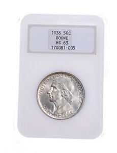 MS63 1936 Boone Bicentennial Commemorative Half Dollar - Graded NGC *5212