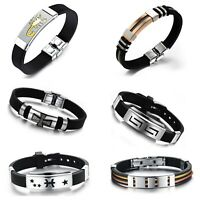 Edelstahl Silikon Armband Schwarz Silber Herren Armreif Armkette Schmuck