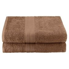Set of 2 Coffee Ring Spun Combed Cotton Soft and Absorbent Bath Sheet Towels
