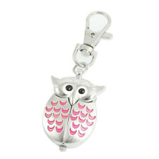 Silver Tone Pink Metal Owl Pendant Knob Adjustable Time Keyring Watch X5E5 F0I1