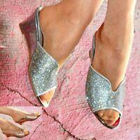 Ladies Slip On Wedges Mid Low Heel Metallic Diamante Sliders Wide Fit Shoes size