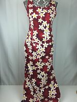 Royal Creations Women L Red Hawaiian Dress Tropical White Plumeria Floral Fitted