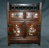 """18.4 """"Chine Huanghuali bois incrustation Shell Flower Birds armoire armoire"""