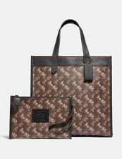 ❤NWT Coach Field Tote With Horse And Carriage Print Pewter/Brown Black