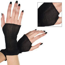 Gothic Punk Derby Black Mesh Fishnet Wrist Fingerless Gloves Halloween Costume