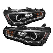 Mitsubishi 08-15 Lancer Evo X Black DRL Halo LED Projector Headlights GSR MR GT