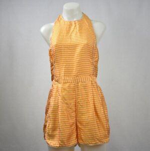 Zimmermann Yellow Checked Silk Blend Halter Neck Playsuit Size 1