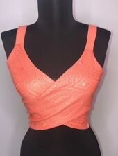 BEBE Wrap Crop Top Size X-Small Sleeveless Peach Textured Knit Geometric Design