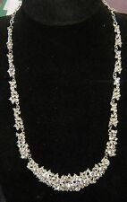 Fantastica Collana d'Argento Tono in metallo Gocciolamento Con Pietre Bianco circa 58-70 cm