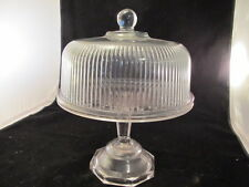 Vintage Clear Glass Cake Stand With Very Nice Dome Glass Cover