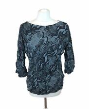 Ghost London Top Blouse Grey Snake Skin Pattern Womens Small