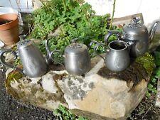 Petit service à thé café en étain argenté Sheffield Anglais décor prise fleurs