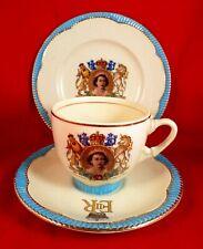 More details for clarice cliff trio queen elizabeth ii coronation 1953 rare newport pristine