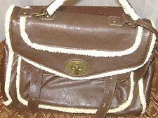 Chinese Laundry Handbag Brown Sherpa Satchel Nwot