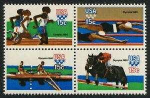 #1794a 15c 1980 Summer Olympics, Se-Tenant Block, Mint ANY 4=