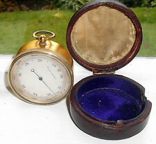 ANTIQUE POCKET BAROMETER COMPENSATED MOROCCAN LEATHER CASE (WORKING)