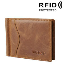 Men's Genuine Leather RFID Blocking Card Holder Money Clip Slim Billfold Wallet