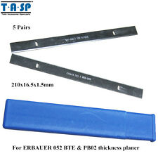 5 Pair 210x16.5x1.5mm Hss Thickness Planer Blade For Erbauer 052 Bte & Pb02
