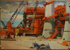 Russian Ukrainian Soviet tempera Painting industrial realism plant worker
