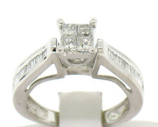 14k White Gold Invisible Set Princess & Baguette Diamond Solitaire Ring