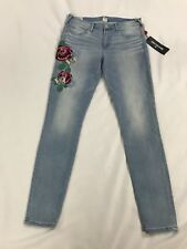 True Religion Halle Mid Rise Super Skinny Floral Embroidered Jeans Size 28 NEW