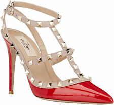 New VALENTINO Rockstud Slingback Pumps Shoes Size 8.5 red patent