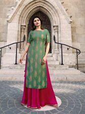 Women's Embroidered Banarsi Designer Anarkali Kurti Kurta green