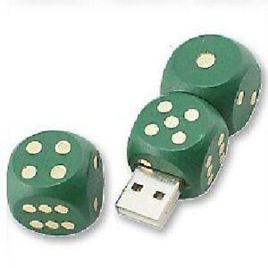 USB Stick 8 GB Würfel Natur Holz Spielwürfel grün gold-farbig